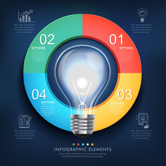 creative infographics template with bulb
