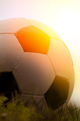 Photo of a soccer ball on grass