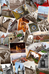 collage of landmarks of Tallinn. Estonia