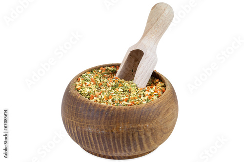 Vegeta spices in wooden bowl Canvas Print