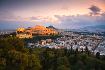Acropolis as seen from Filopappou Hill, Athens.