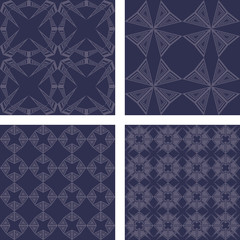 Vintage grey seamless pattern wallpaper set