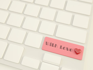 with love, heart on shift  key