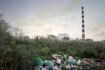 domestic garbage and factory chimneys