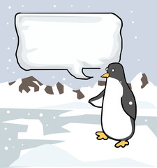 penguin, with a speech bubble