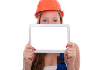 Young Craftswoman with tablet Ausbildung isolated