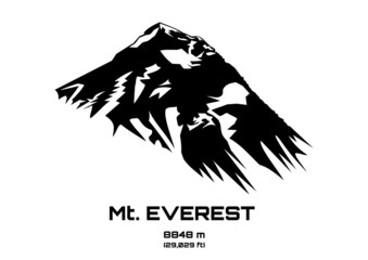 Outline vector illustration of Mt. Everest