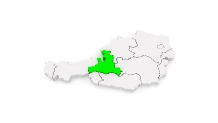 Map of regions of Austria. 3d