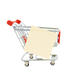 Paper note on a shopping cart