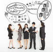 business people enjoy technology apps with internet structure