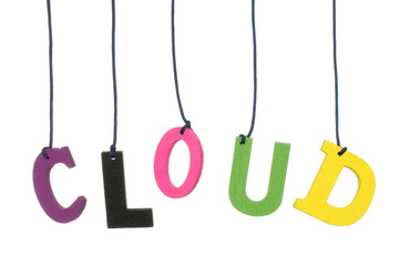 Color hanging wood cloud letters on white background.