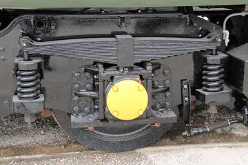 The Wheel and Suspension of a Diesel Train Engine.