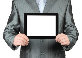 Businessman using tablet PC on white background .