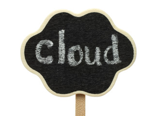 Cloud shape blackboard on white background .