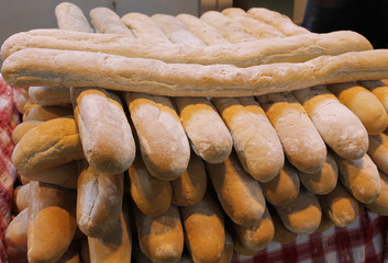 A Stack of Freshly Baked French Stick Bread Loaves.