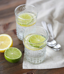 Summer softdrink with lemon and lime