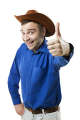 Happy Cowboy like thumb up