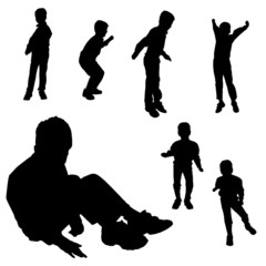 Vector silhouette of boy.