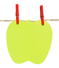 Notepad shaped apple hanging from a rope