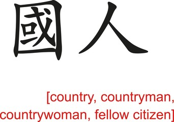 Chinese Sign for country,countryman,countrywoman,fellow citizen