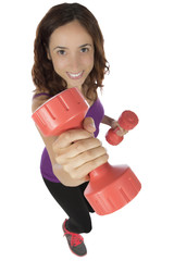 Young fitness woman holding weights
