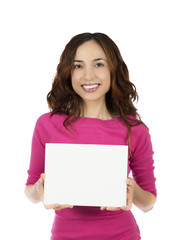 Young woman holding a blank white board