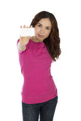 Young caucasian woman presenting a businesscard