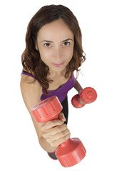 Fitness woman with dumbbells close up