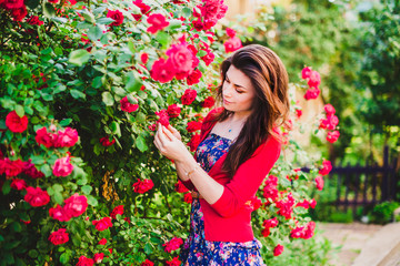 beautiful girl and red roses