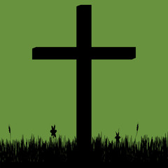 Vector silhouette of a cross.