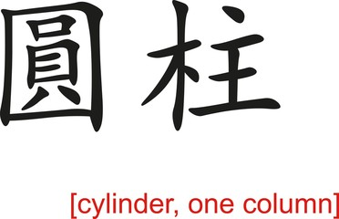 Chinese Sign for cylinder, one column