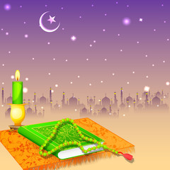 Koran in Happy Eid background