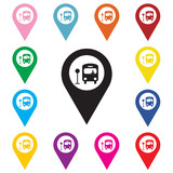 Fototapety Map pointer with bus icon.