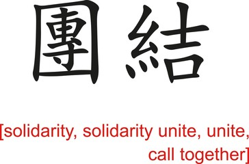 Chinese Sign for solidarity,solidarity unite,call together