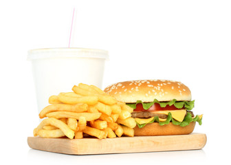 Hamburger, potato free and cola on white background ..