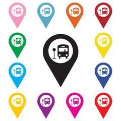 Map pointer with bus icon.