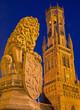 Bruges - The Statue of lion and Belfort van Brugge.