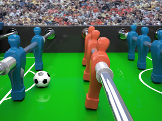 Table football toy and soccer ball