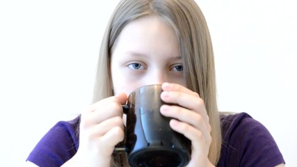 Teen girl with mug