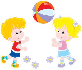 Children playing a ball
