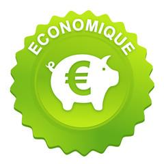 économique sur bouton web denté vert