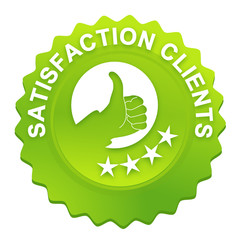 satisfaction clients sur bouton web denté vert