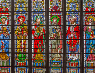 Bruges - Saints on the windowpane in St. Salvator's Cathedral