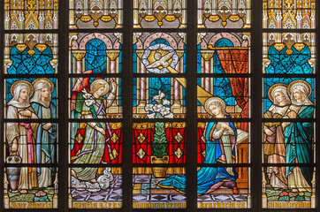 Bruges - Annunciation on windowpane in St. Salvator's Cathedral