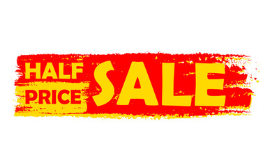 half price sale, yellow and red drawn label