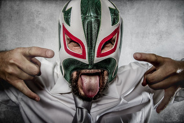 Rock and roll, aggressive executive suit and tie, Mexican wrestl