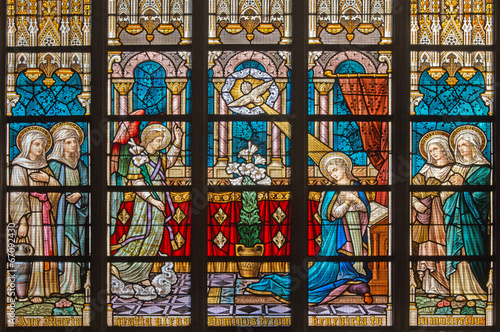 Bruges - Annunciation on windowpane in St. Salvator's Cathedral - 67092430