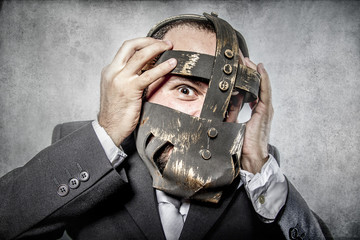 terror, business man with iron mask