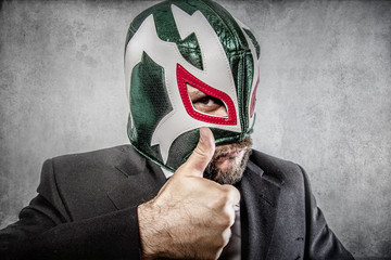 all it is ok, aggressive executive suit and tie, Mexican wrestle