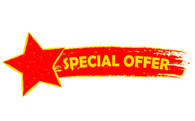 special offer with star, yellow and red drawn banner